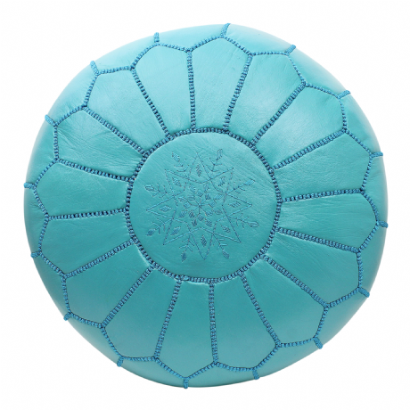 Moroccan Pouffe Pouf Ottoman Footstool COVER ONLY or STUFFED Real Turquoise Blue Leather